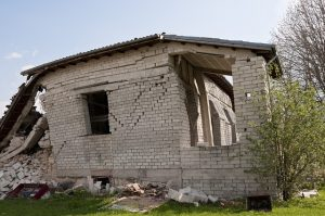 Damaged house from earthquake