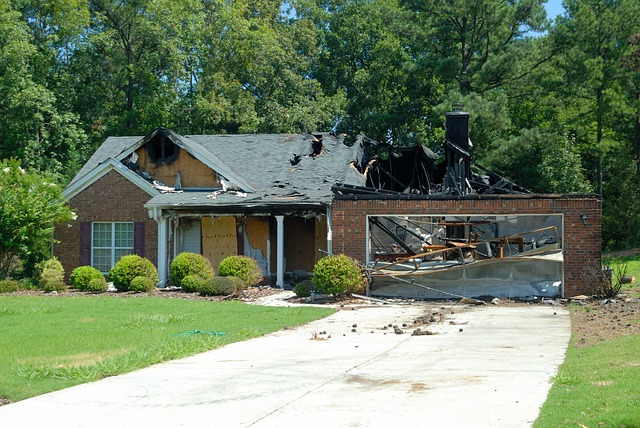 Fire damage on house